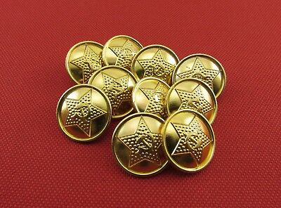 Russian Army Military Star Sickle and Hammer Uniform Metal Buttons, 10 Pieces