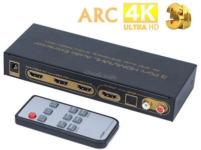 New HDMI 3X1 Switch With Audio Extractor ARC 4K 3D 5.1CH 2CH Converter + Remote