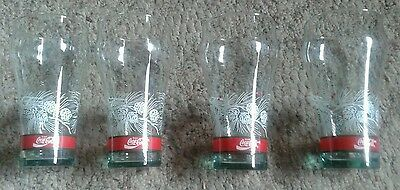 Vintage SET OF 4 COCA COLA COKE CHRISTMAS PINE CONE HOLLY GLASSES GLASS TUMBLERS
