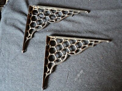 vintage antique cast iron shelf brackets honeycomb design bookshelf 1 pair
