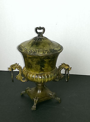 "Vintage Cast Iron Lidded Urn 9"" With Patina"