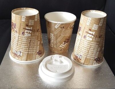 Paper Coffe / Tea Cups Disposables 8/10/12oz and Sip Lids Party Wedding Catering