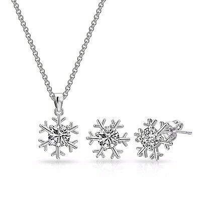 Silver Snowflake Necklace + Earrings Set Crystals from Swarovski®