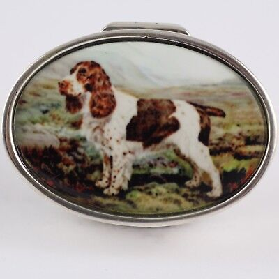 Enamel Oval Antique Style Dog Pill Box 925 Solid Sterling Silver