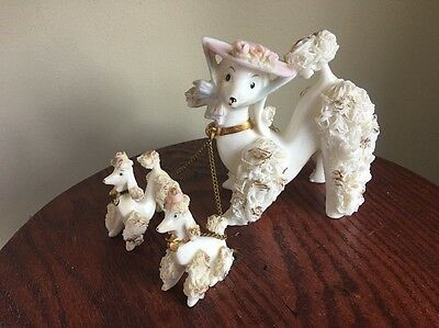 Vntg MAMA POODLE WITH PUPPY Arnart Creations Japan SPAGHETTI PORCELAIN