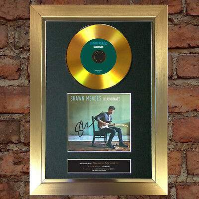 GOLD DISC SHAWN MENDES Signed Repro Autograph CD & Cover Mounted Print A4 80