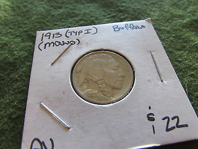 1913 Type I Buffalo Nickel Mound Philadelphia Mint Bison 5 Cent Coin