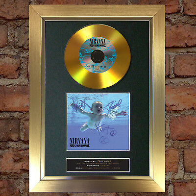 GOLD DISC NIRVANA Signed Repro Autograph CD & Cover Mounted Print A4 81