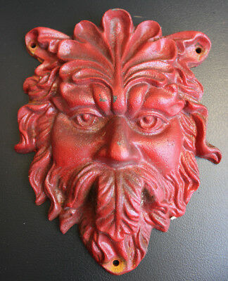 "Antique Vintage Heavy Cast Iron Door Knocker Plate Greenman Face Red 9"" x 7"""