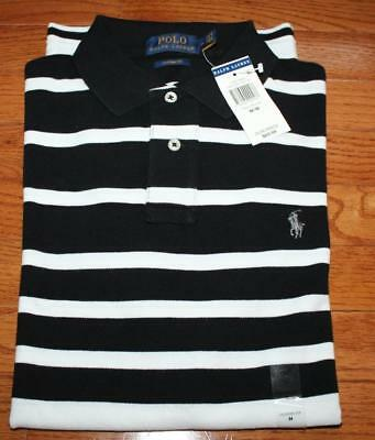 NEW NWT Mens Polo Ralph Lauren Custom Fit Polo Shirt Pony Logo Black Striped *F9