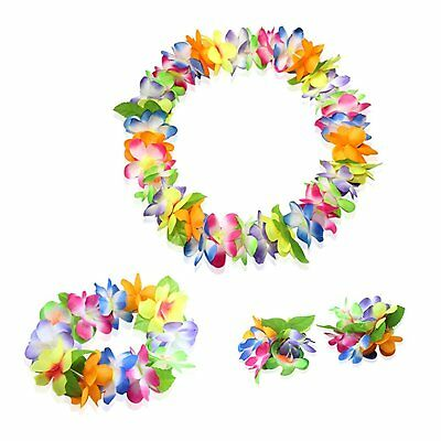 Hawaiian Luau multicolor flower Leis Jumbo necklaces bracelets headband set