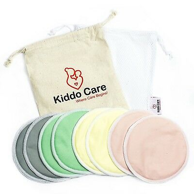 Washable Organic Bamboo Nursing Pads -8 PACK (4 pairs) Reusable Breast Pads NEW