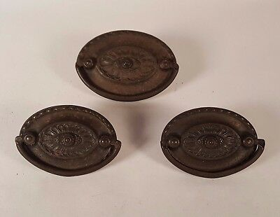 Vintage Rusty Drawer Pulls 2 Sizes Lot of 3 Drop Bail Handles Oval Center Hole