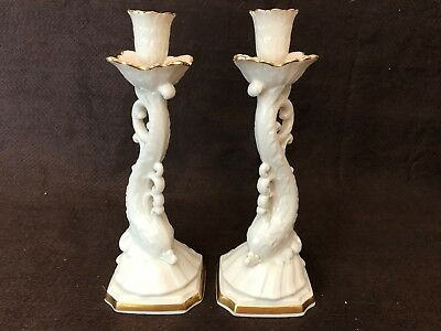 Vintage Lenox Candlesticks Dolphin Pair Ivory Gold Hand Decorated 24K Gold Bands