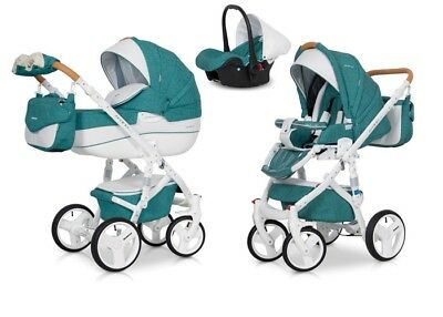 RIKO BRANO LUXE MALACHIT PRAM 3in1 CARRYCOT + PUSH CHAIR + CAR SEAT