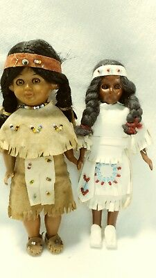 Vintage 1970's Plastic Native American Plains Indian Doll  Inches