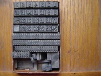 "Letterpress Metal Type  Handy Box of Calendar Numbers & ""Pointed Hands"" 24Pt"