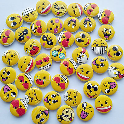 Mix Lots Cute Smile Face Wood Button Sewing Button Diy Craft Embelishment Supply