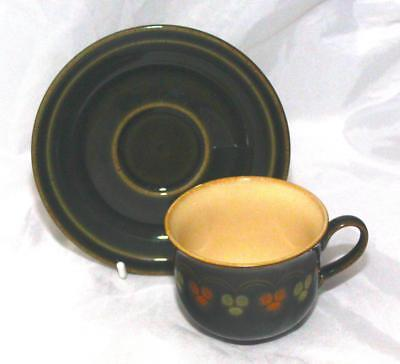 Denby Pottery Oberon Pattern Cup and Saucer made in Stoneware