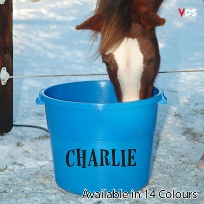 Personalised Custom Text Vinyl Decal Sticker for horse box/feed/water/bucket