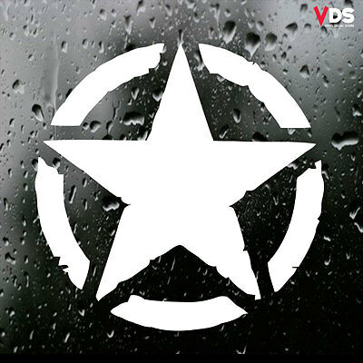 Army Invasion Military Star Car Laptop Vinyl Graphic Decal Sticker White