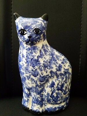 """Vintage Porcelain Cat Kitten Figurine Coin Bank Blue and White  8 1/4""""h"""