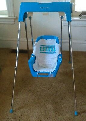 Rare Vintage Baby Swing Fisher Price Blue Reclining
