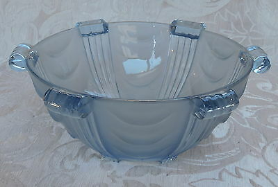 Art Deco Frosted Blue Glass Bowl (Walther?) c1935