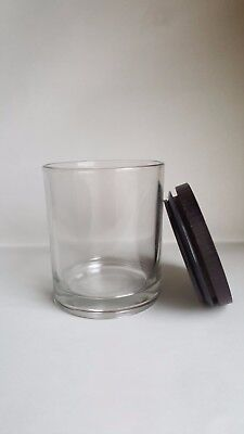 12 x Large Candle Tumblers Clear Glass with FREE wooden lid, Candle Glass Jar
