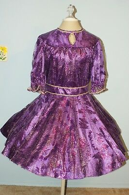 Square Dance Dress - Sangria (deep purple) with Gold Lace Overlay