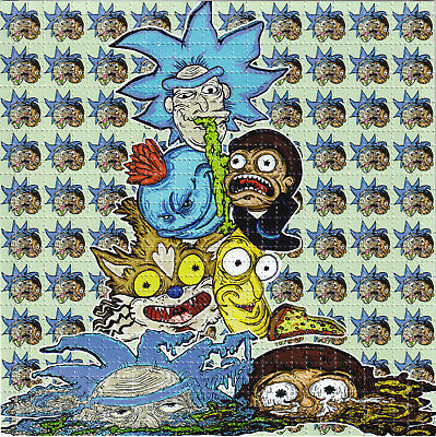 Rick and Morty by Vincent Gordon - BLOTTER ART Perforated paper acid free