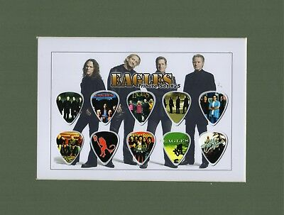 Eagles Matted Picture Guitar Pick Set Hotel California Don Henley Take It Easy