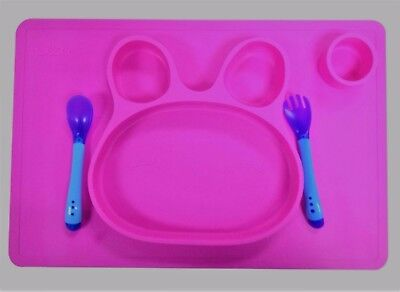 Non-Slip Silicone Placemats For Babies, Kids, Toddlers Bpa Free(Pink)