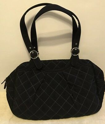Black Vera Bradley Diaper Bag Quilted Microfiber With Changing Pad NEW Oh Baby