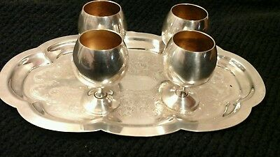 "Set of Four Sheridan Silverplate Goblets,Vintage Sheridan 2.50"" Tall,Silver tray"