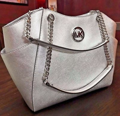 NWT Michael Kors Grey  Saffiano Leather Jet Set Travel Chain Shoulder Tote Bag