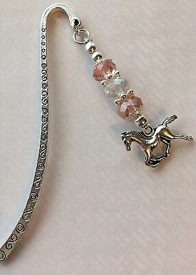 Horse Bookmark With Pink And Silver Beads / Pony Equestrian / Easter Gift