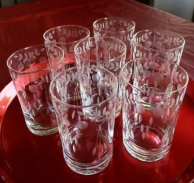 Set of 8 Antique Etched Victorian Style Hand Cut Crystal Liquor Glasses
