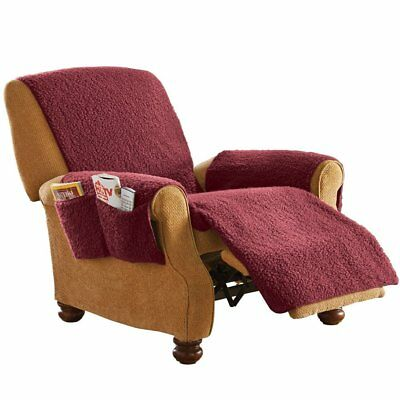 ARMCHAIR RECLINER COVER Protector With Pockets Burgundy Fleece For Leather  Chair