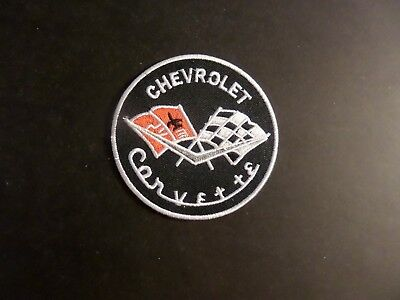 CHEVROLET CORVETTE red & sliver & black Embroidered 3 x 3 Iron Or Sew On Patch