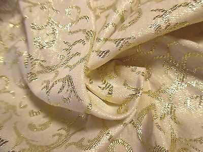 "VINTAGE METALLIC JACQUARD~SCROLL PATTERN~GOLD/IVORY PEARL~18""x28""~DOLL FABRIC"