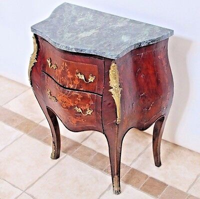 Antique French Bombay Chest Commode Dresser Cabinet Green Marble Top