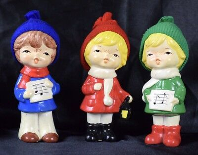 Vintage Lot of 3 Japan Christmas Singing Children Ceramic Figurines