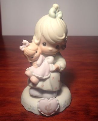 Precious Moment Figurine Age 4 Girl With Flowers