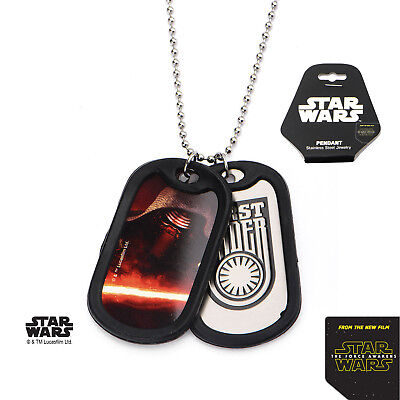 """Star Wars Necklace Military Dog Tag Kylo Ren With Chain 22""""  - BRAND NEW"""
