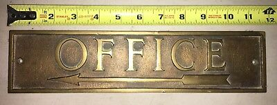 Solid Brass Antique OFFICE with Arrow Wall Plaque
