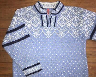 Hanna Andersson Fair Isle Blue Nordic 1/4 Zip Sweater 100 3 4 5 Navy Blue White