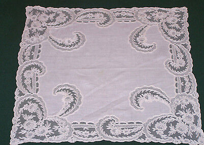EXQUISITE ANTIQUE, VINTAGE WEDDING HANDKERCHIEF, CHANTILLY LACE, EDWARDIAN c1920