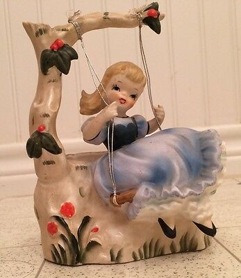 vintage napco girl in a swing planter