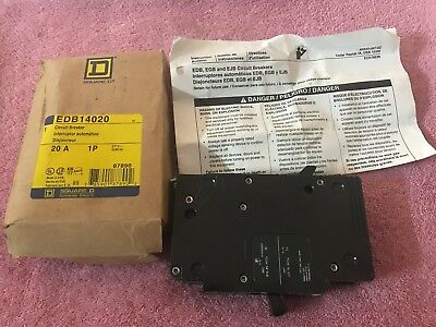 NEW IN BOX, Square D 20 AMP 1P EDB14020, 277 V CIRCUIT BREAKER